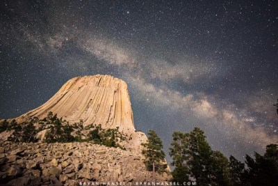 Devil's Tower National Monument under the Milky Way