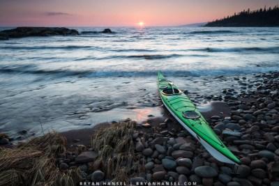 kayak at sunset on lake superior