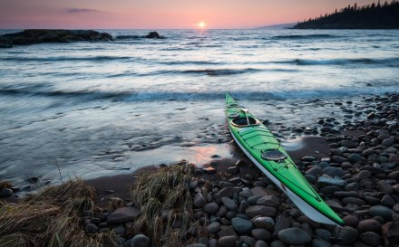 kayak at sunset on lake superior