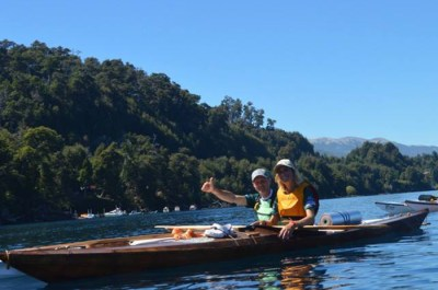two paddlers on the water in kayaks