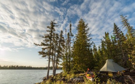 The sunrise lights up our Lake Nipigon campsite near the Virgin Islands.