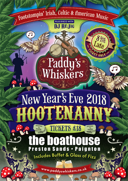 Poster advertising Paddy's Whiskers Irish Band Hootenanny NYE Gig 2018