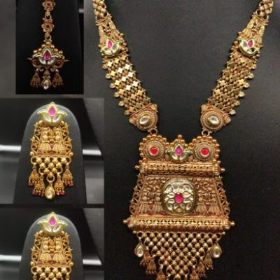 TEMPLE JEWELLERY LONG SET WITH JHUMKI