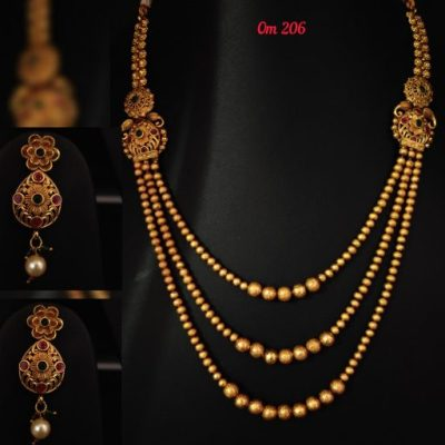 temple jewellery long necklace set and earrings jhumki