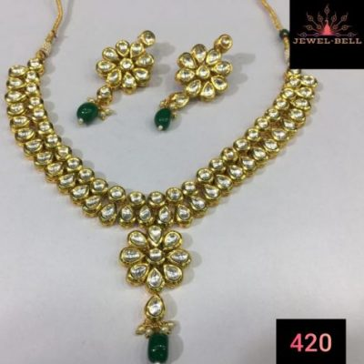 Kundan double line necklace