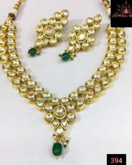 Kundan green pearl necklace