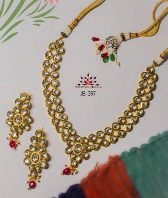 Kundan double line necklace