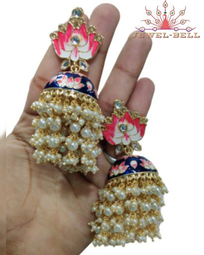 jhumki earrings online with pearls or beads in colorful shades