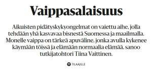 Kuva lehtiotsikosta: Vaippasalaisuus Aikuisten pidätyskykyongelmat on vaiettu aihe, jolla tehdään yhä kasvavaa bisnestä Suomessa ja maailmalla. Monelle vaippa on tärkeä apuväline, jonka avulla kykenee käymään töissä ja elämään normaalia elämää, sanoo tutkijatohtori Tiina Vaittinen.