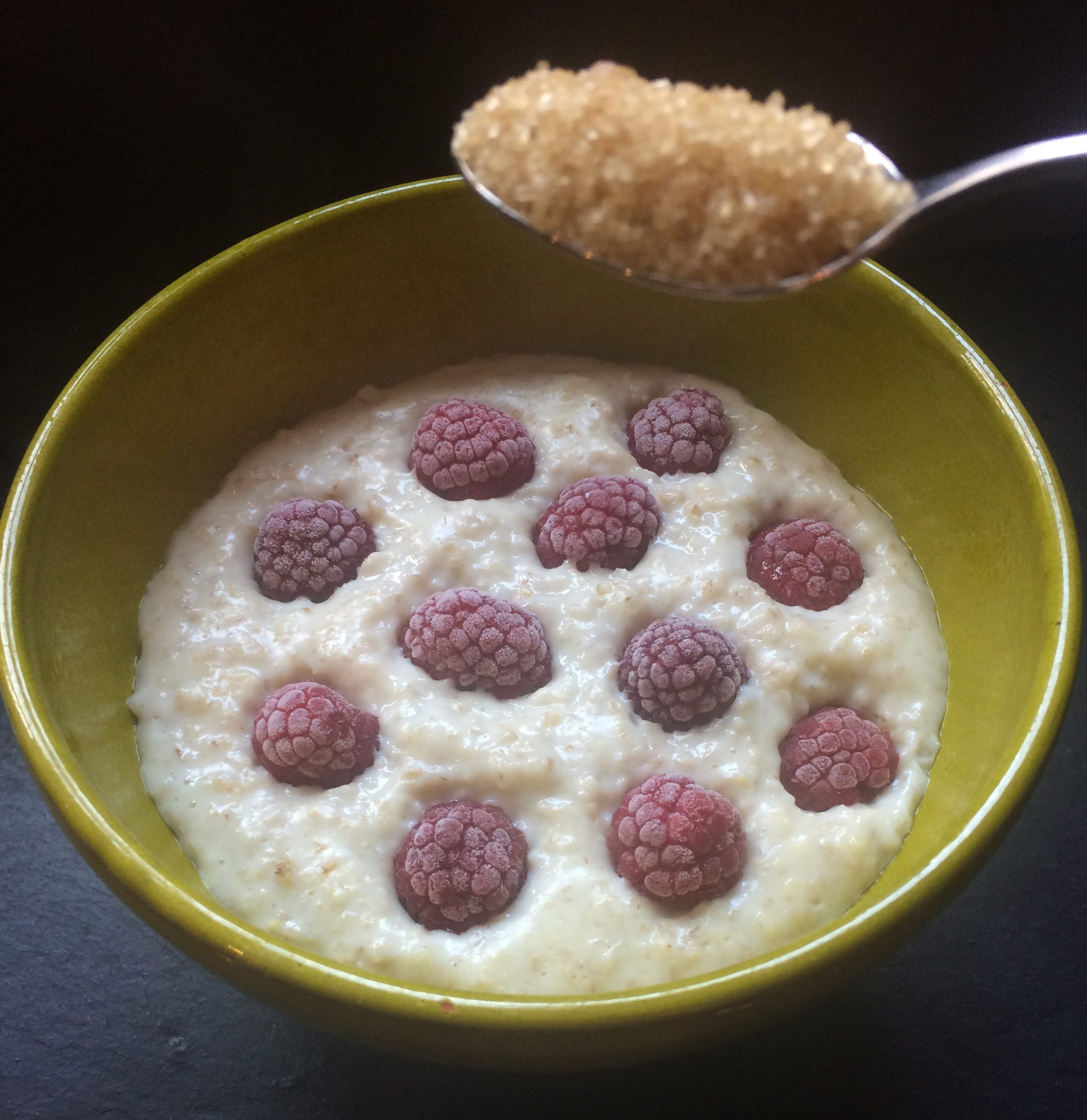Ring the changes with some essential indulgence. This is my creamed  porridge with raspberries recipe containing 1 teaspoon of added sugar.
