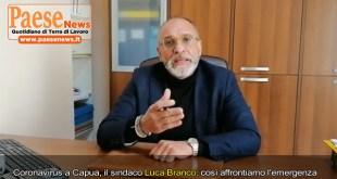 Capua – Coronavirus, parla il sindaco Luca Branco: così affrontiamo l'emergenza. Un grazie ai tanti volontari (il video)