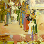 "Detail Indian Maidens I 46"" x 42"" Oil on mylar panel © 2009 Page Laughlin"