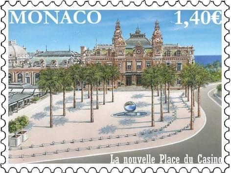La nouvelle place du casino en timbre