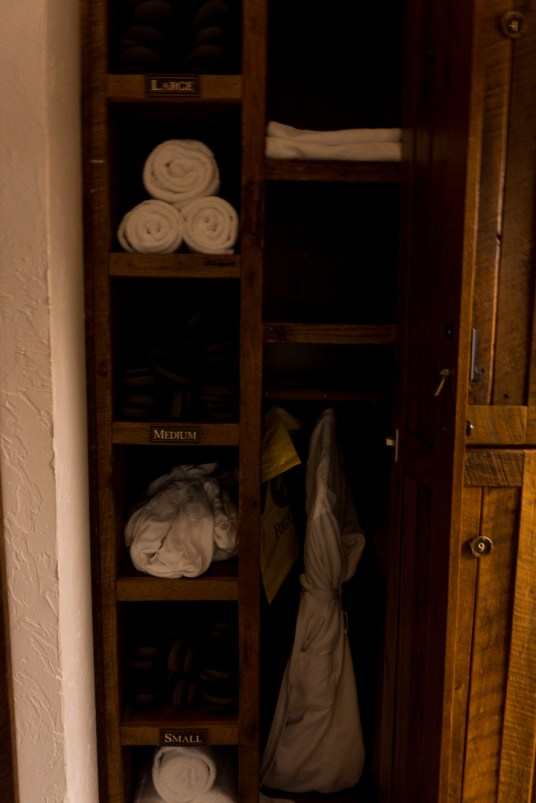 Each guest is given a locker to store items in. You will also be able to use a comfy robe and sandals.