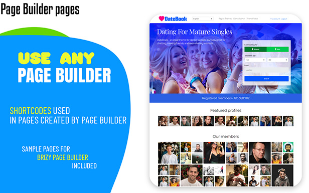 DateBook - Dating WordPress Theme. Use Brizy Page Builder pages.
