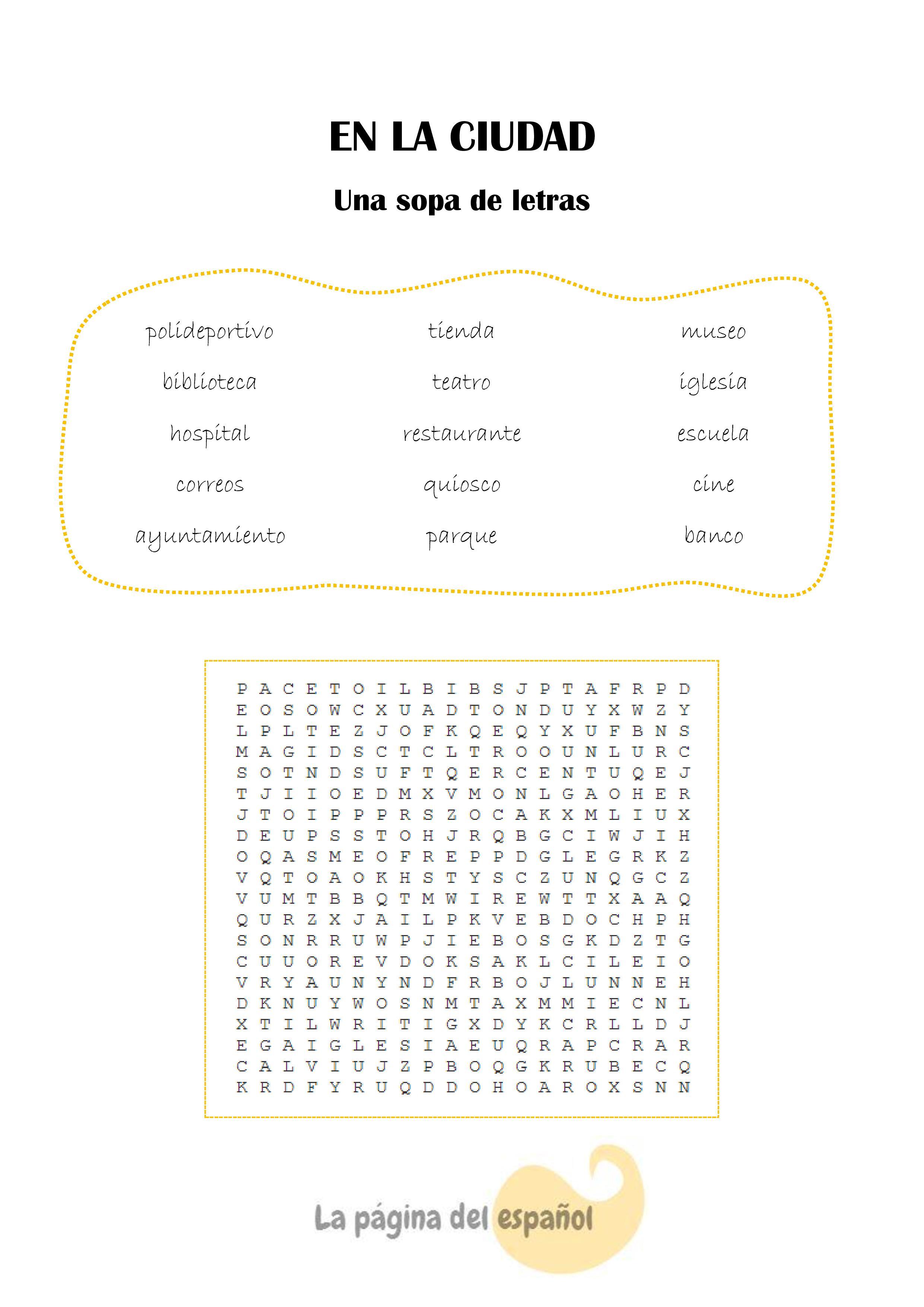 Sopa De Letras En La Ciudad
