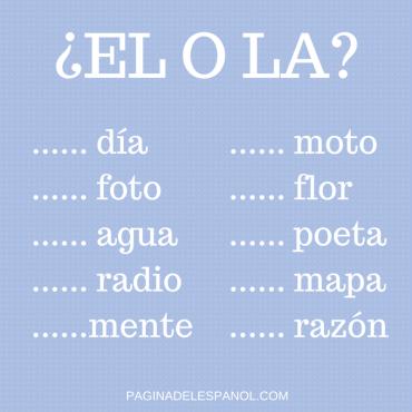 el o la artículos en español