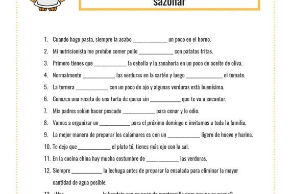 Utiliza Algunos Verbos Para Cocinar La Página Del Español