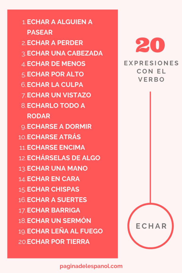 """20 expresiones con el verbo """"echar"""""""