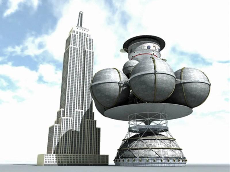 Confronto di dimensioni tra l'astronave interstellare del Progetto Daedalus e l'Empire State Building, celeberrimo grattacielo di New York alto oltre 400 m. Credit: Adrian Mann