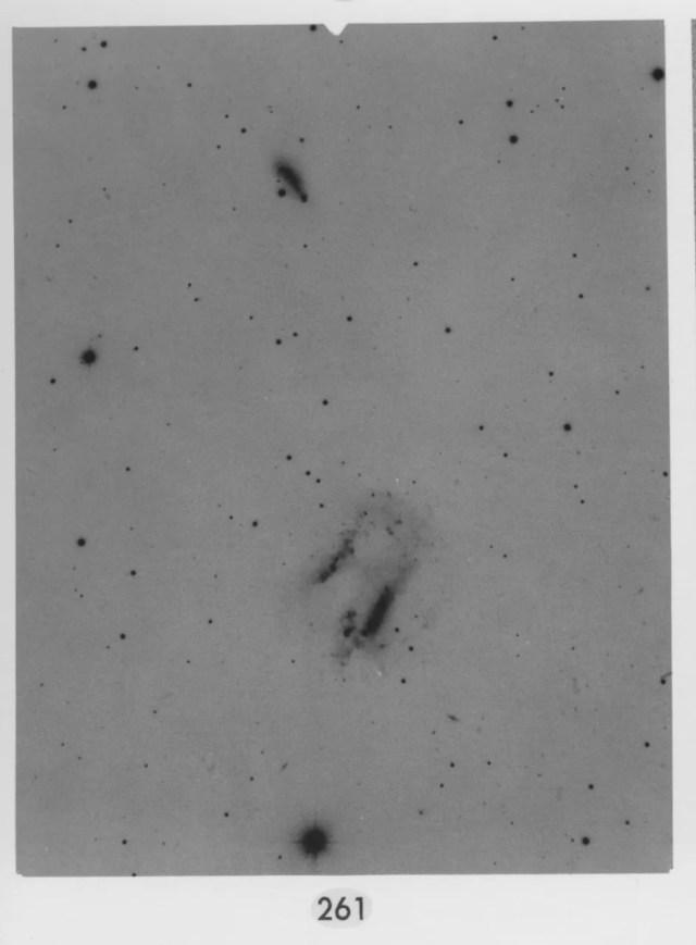 La coppia di galassie interagenti Arp 261, così come appare nel catalogo delle galassie peculiari di Halton Arp. Credit: California Institute of Technology