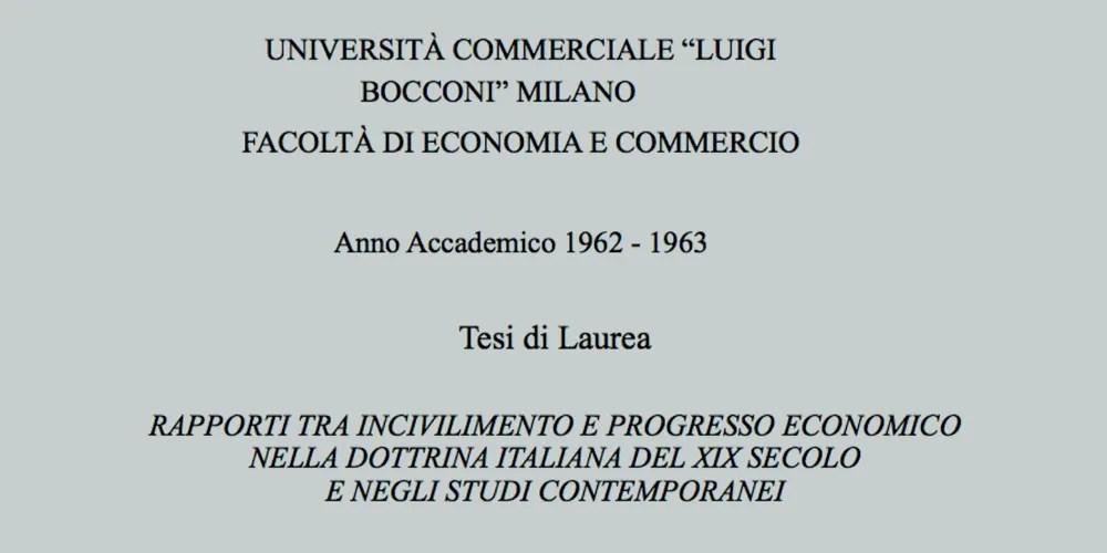 Rapporti tra incivilimento e progresso economico nella dottrina italiana del XIX secolo e negli studi contemporanei