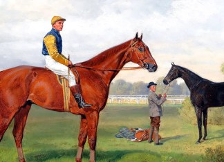 Áruló and Komámasszony, two victorious race horses from the estate of Baron Hermann von Königswarter with jockey Robert Adams