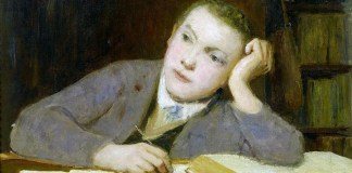 Schreibender Knabe. Albert Anker