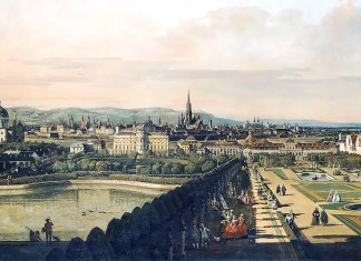 Bernardo Bellotto, il Canaletto. View of Vienna from the Belvedere