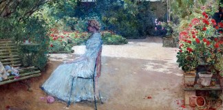 Childe Hassam. The Artist's Wife in a Garden, Villiers-le-Bel, 1889