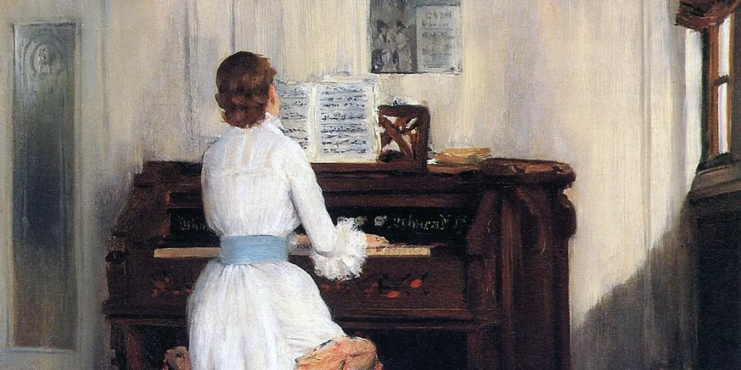 Mrs. Meigs at the Piano Organ. William Merritt Chase