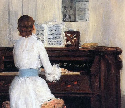Mrs. Meigs at the Piano Organ. William Merritt Chase