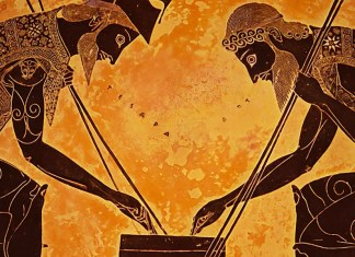 Exekias Amphora, Achilles and Ajax Engaged in a Game. Ancient Greek Pottery