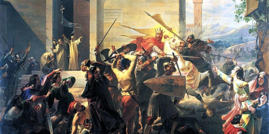 """""""La cacciata dell'imperatore Barbarossa da Alessandria, 1849 ca."""" di Carlo Arienti"""