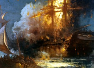Burning of the Frigate Philadelphia in the Harbor of Tripoli. Edward Moran