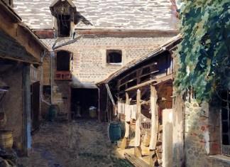 Village courtyard in France. Ivan Kramskoi