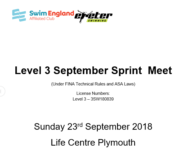 Exeter Sprint Meet – Provisional Entries