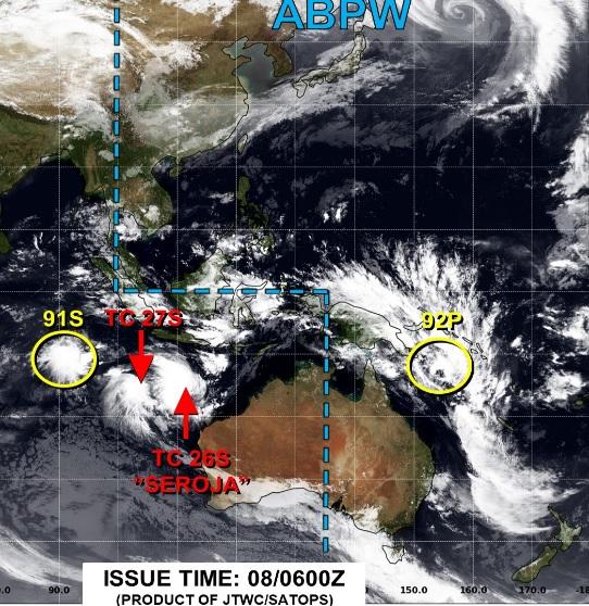 Mapa mostra a posição dos três sistemas que ganham força sobre o Índico, ao largo do noroeste da Austrália. Chuvas fortes e ventos destrutivos estão a caminho. Crédito: JTWC.