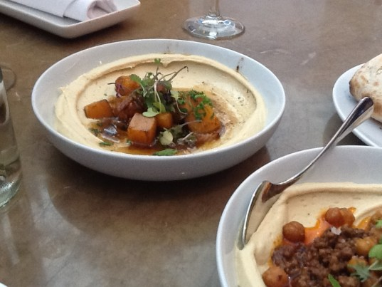Hummus with Butternut Squash, Pecans and Black Garlic Butter