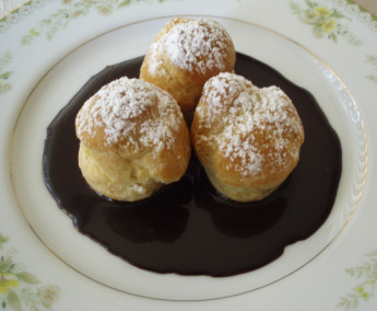 Plated Profiteroles with Dark Chocolate Sauce Cropped and Resized-GPerez