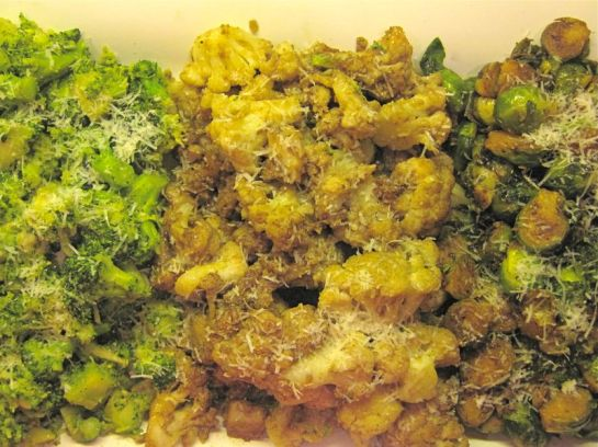 A mixed platter of Broccoli, Cauliflower and Brussels Sprouts