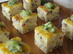 Shiitake and Corn Frittata Bites with Tomatillo avocado Salsa