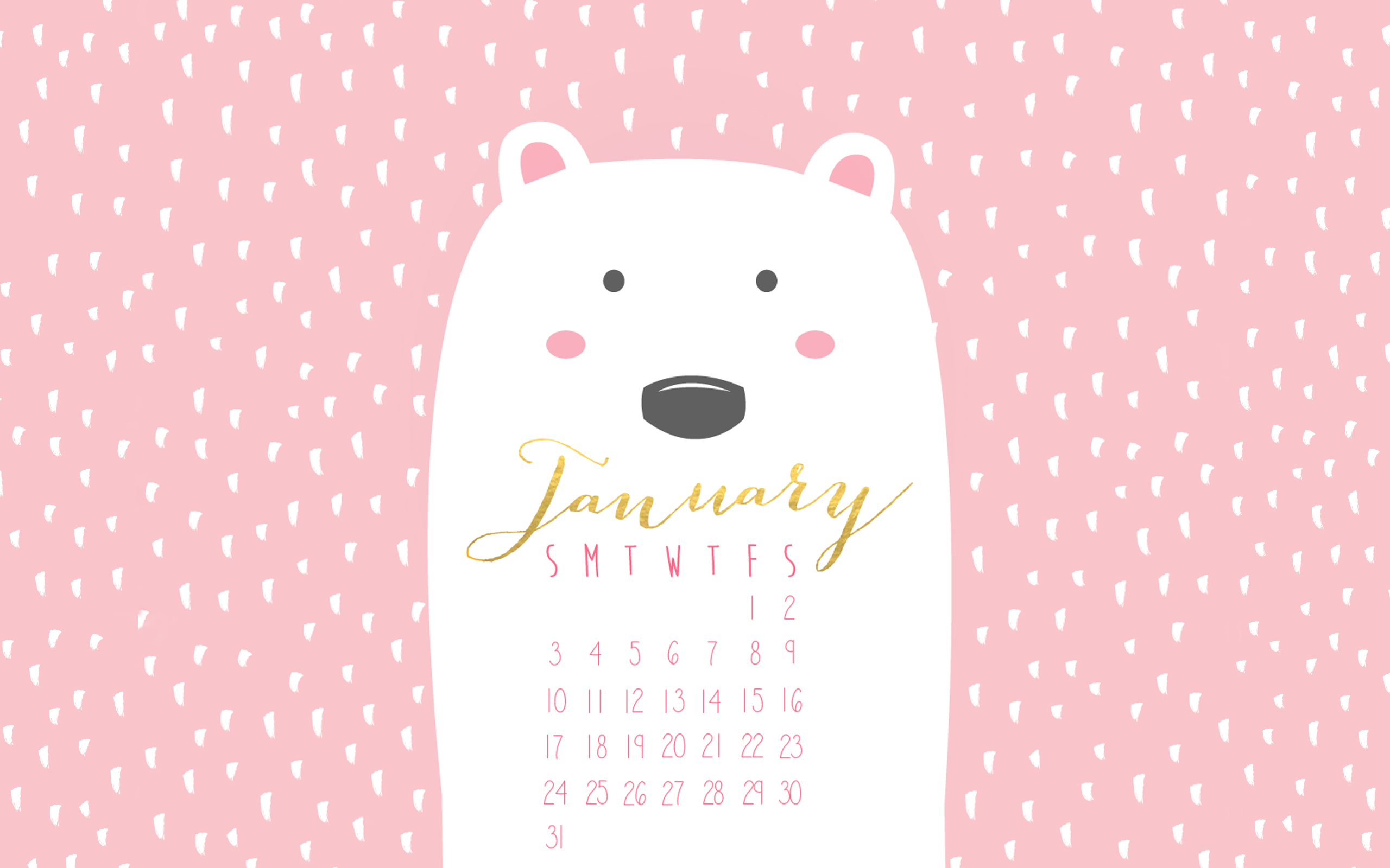 Free January 2016 desktop calendar!