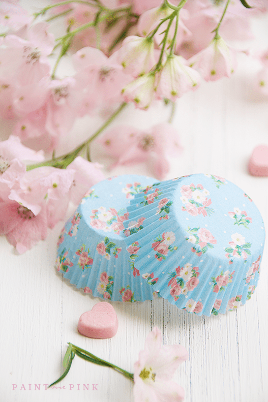 Beautiful Vintage Blue and Pink Cupcake Liners. Mix and match cupcake liners for a vibrant vintage display.