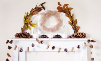 Pinecones and Pumpkins Fall Mantel