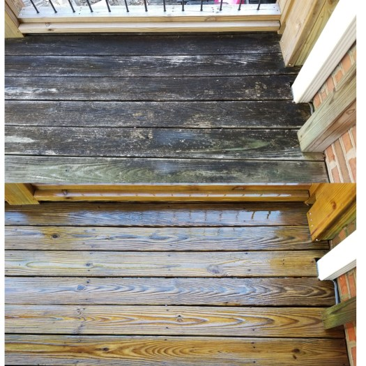 Deck collaged photos showing heavily weathered wood before and after cleaning by PaintDoctorMD