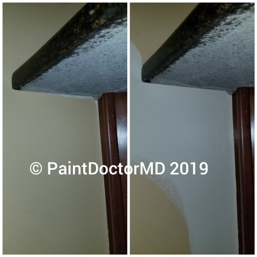 On the left, the ugly old gold-ish 80s paint scheme by painters who didn't care about their cut. On the right, 10 seconds later, the first coat cut-in by yours truly.