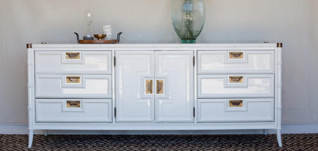 Stanley Faux Bamboo Dresser In White Dove Painted By