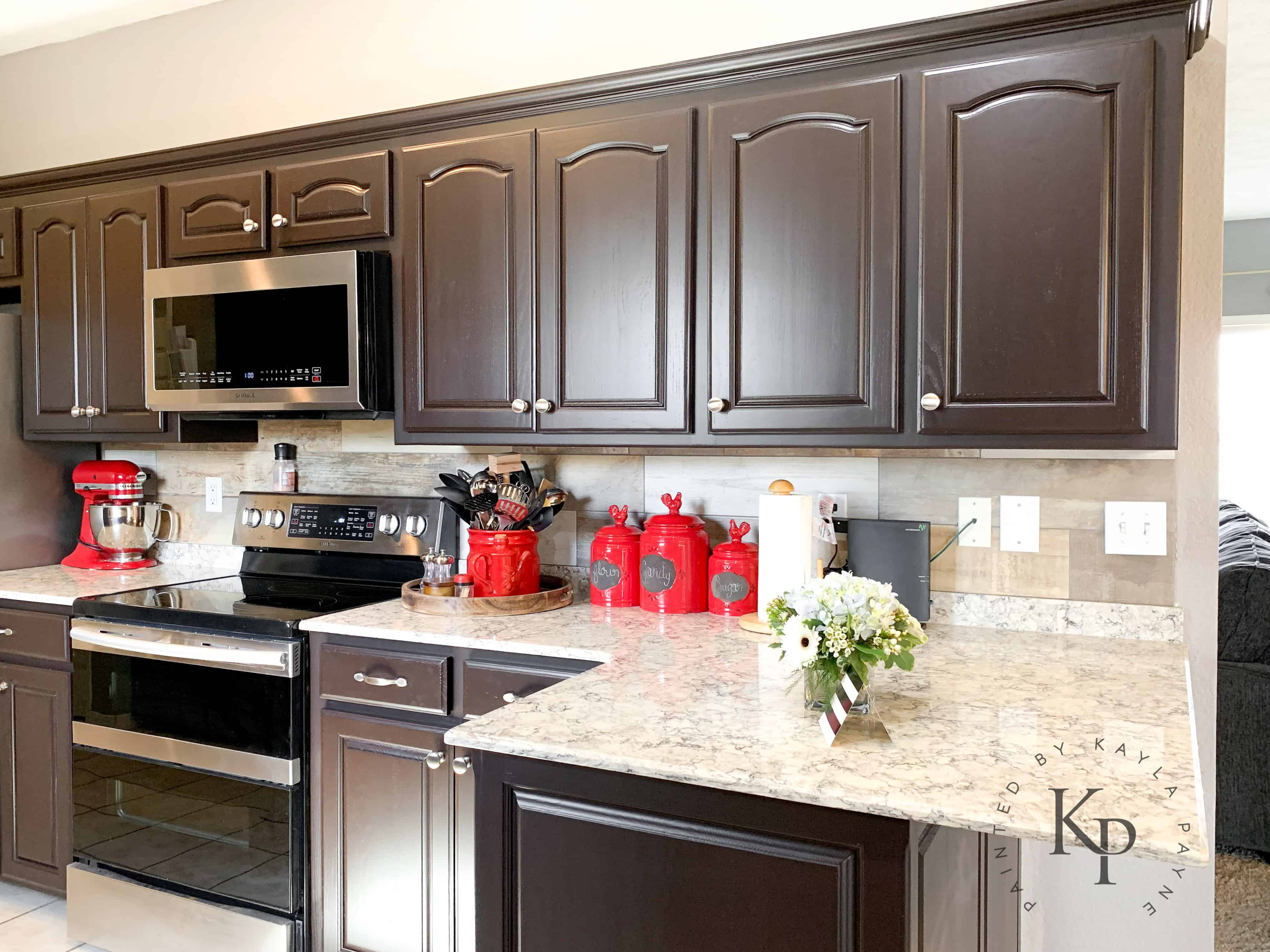 dark brown cabinets, espresso cabinets, espresso painted ... on What Color Cabinets With Black Granite Countertops  id=92689