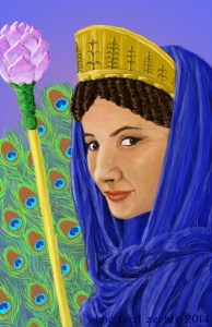 digital painting of Hera as a woman in her prime, wearing a blue drape, crowned, with lotus staff and peacock feathers